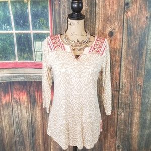 🍂🍂Lucky Brand Boho Tunic embroidered Blouse